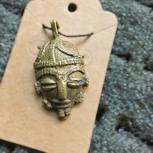 Vintage Brass Tribal Mask Pendant